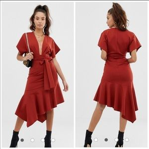 ASOS DESIGN deep V pep hem midi dress